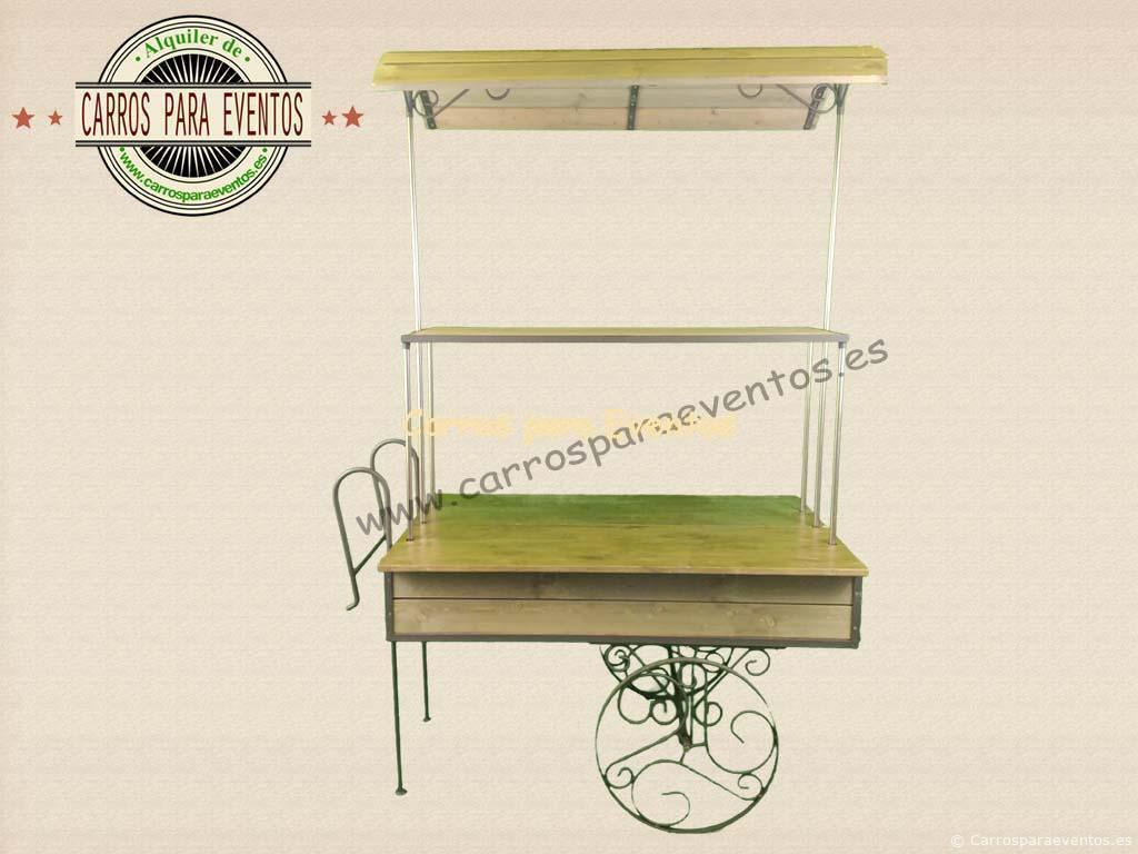 Alquiler de carrito de madera vintage carros para eventos for Carritos de cocina de madera